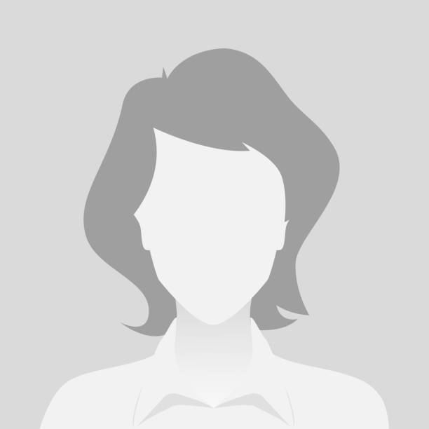 Person gray photo placeholder woman in shirt on gray background